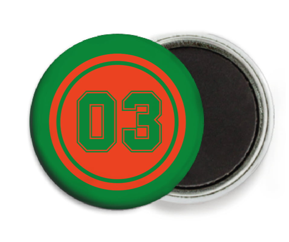 custom button magnets - orange & green - soccer (set of 6)
