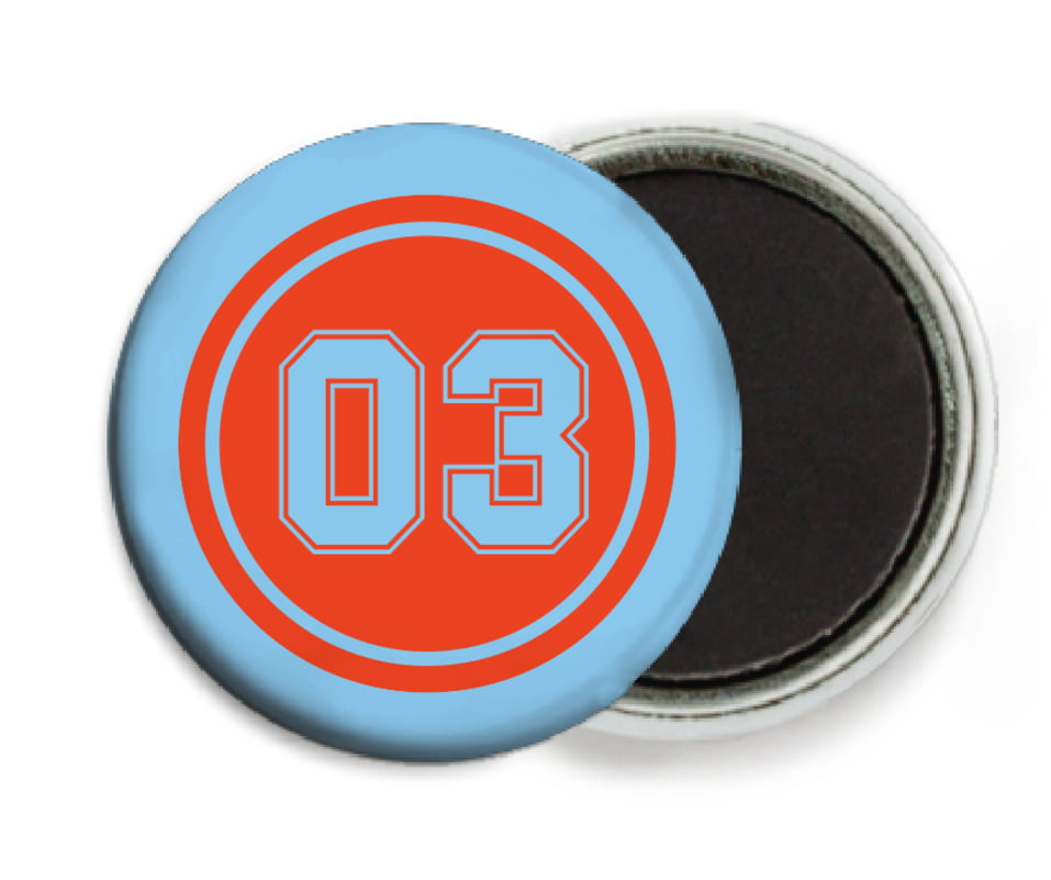 custom button magnets - orange & light blue - soccer (set of 6)