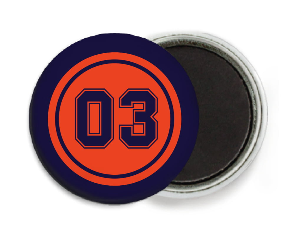 custom button magnets - orange & navy - soccer (set of 6)