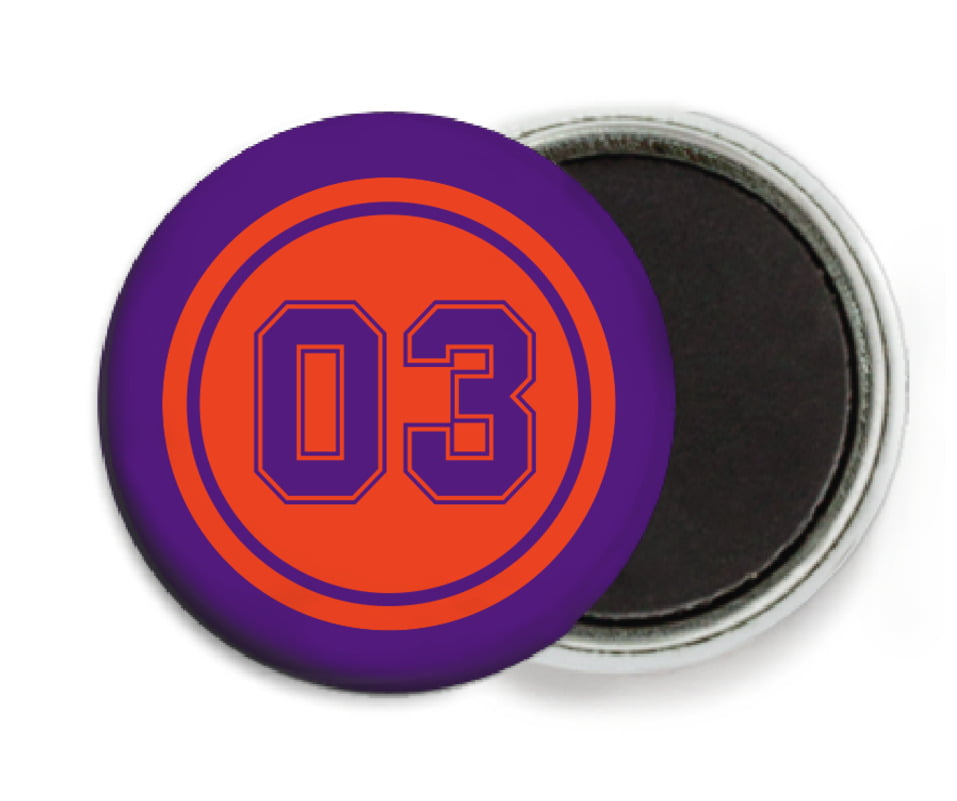 custom button magnets - orange & purple - soccer (set of 6)