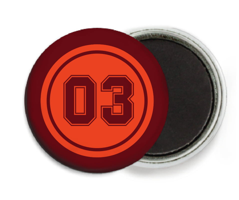 custom button magnets - orange & maroon - soccer (set of 6)