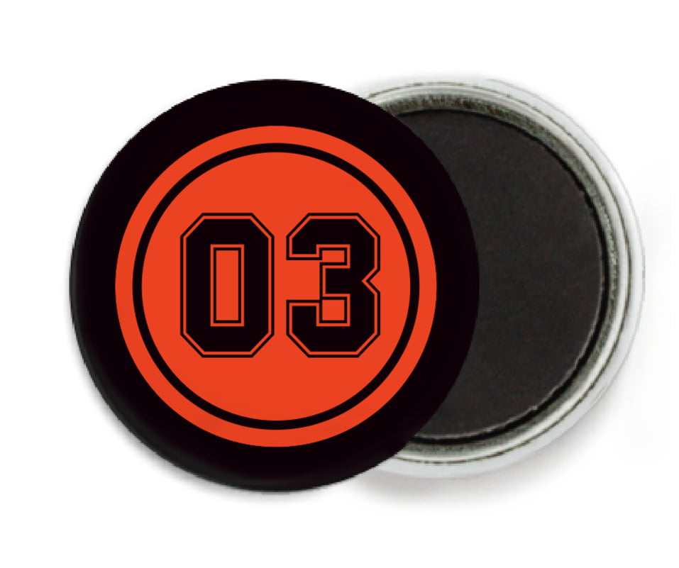 custom button magnets - orange & black - soccer (set of 6)