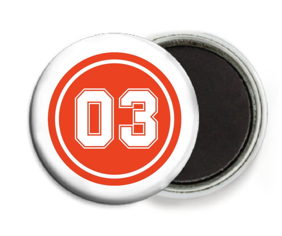 custom button magnets - orange & white - soccer (set of 6)