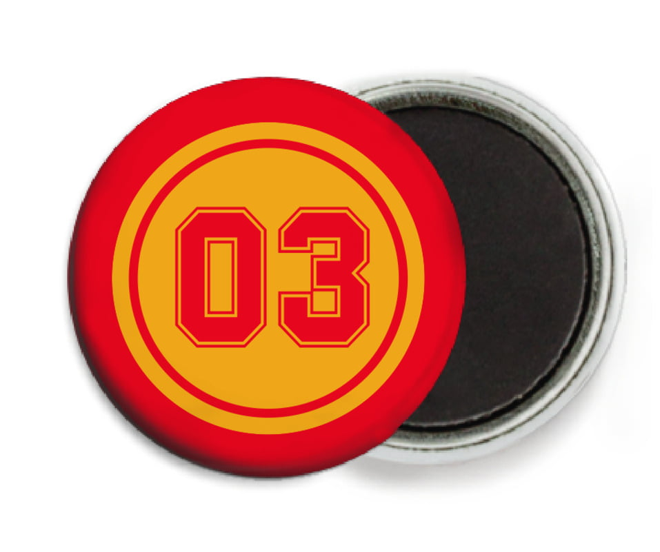 custom button magnets - gold & red - soccer (set of 6)