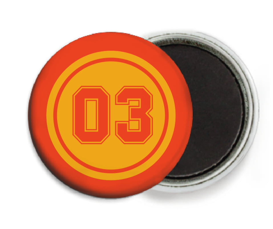 custom button magnets - gold & orange - soccer (set of 6)