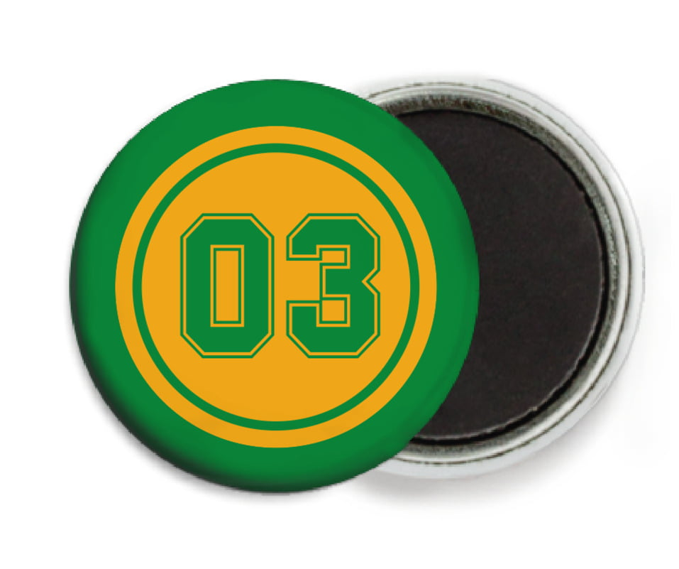 custom button magnets - gold & green - soccer (set of 6)
