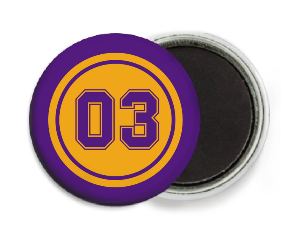 custom button magnets - gold & purple - soccer (set of 6)