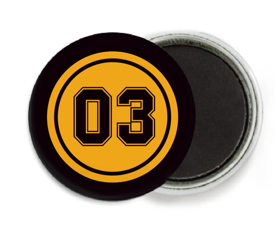 custom button magnets - gold & black - soccer (set of 6)