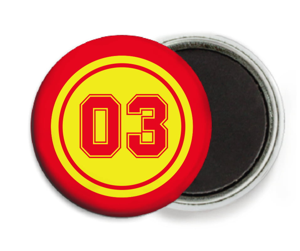 custom button magnets - yellow & red - soccer (set of 6)