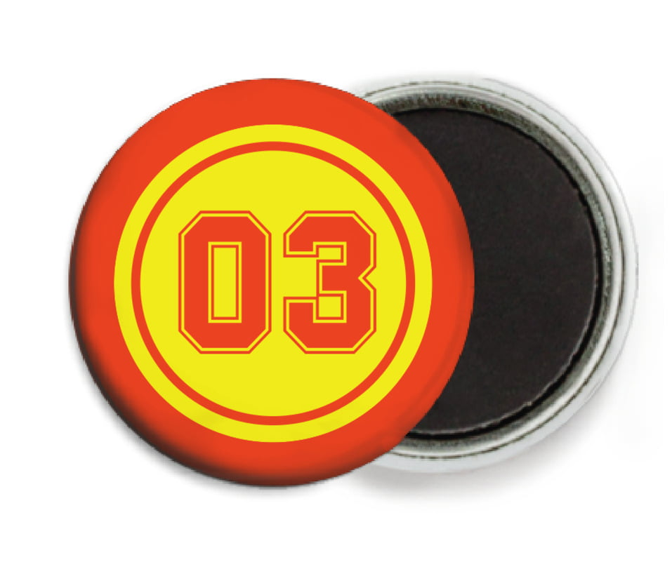 custom button magnets - yellow & orange - soccer (set of 6)