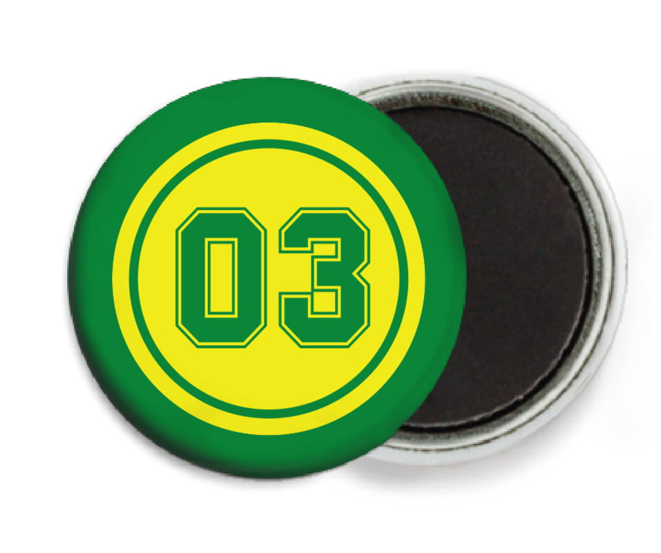 custom button magnets - yellow & green - soccer (set of 6)