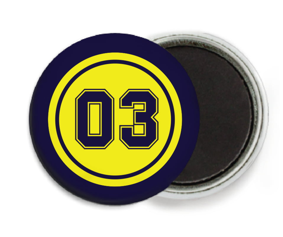 custom button magnets - yellow & navy - soccer (set of 6)