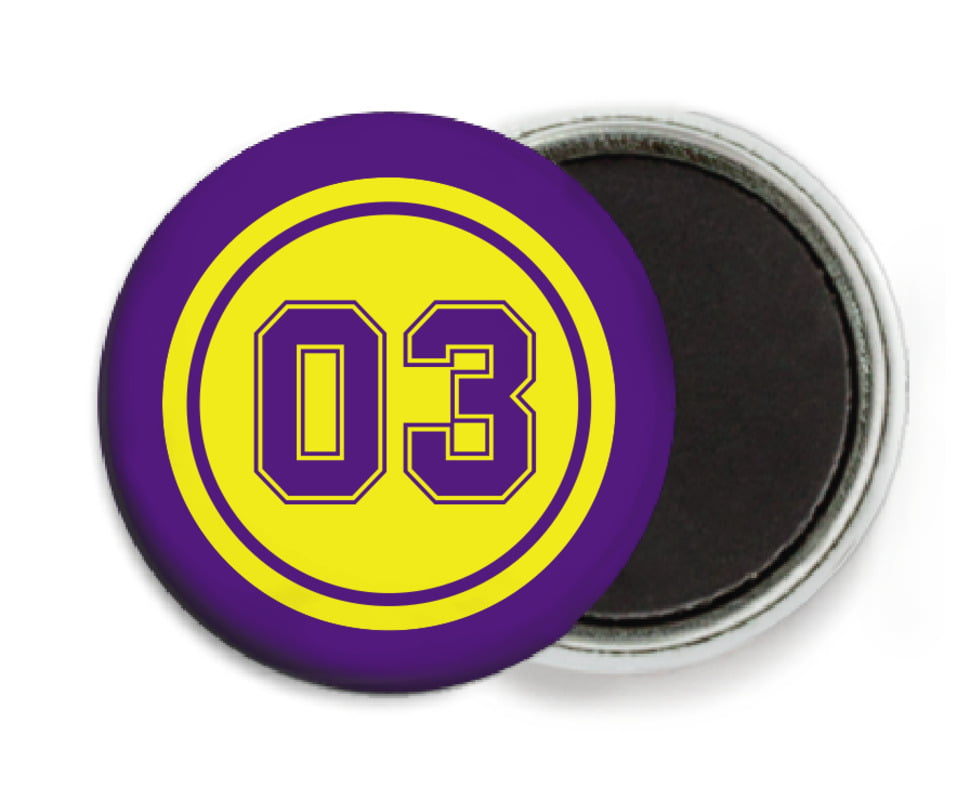 custom button magnets - yellow & purple - soccer (set of 6)