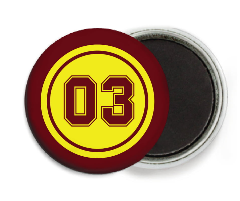 custom button magnets - yellow & maroon - soccer (set of 6)