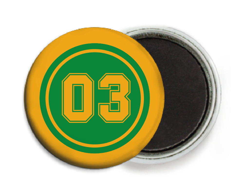 custom button magnets - green & gold - soccer (set of 6)