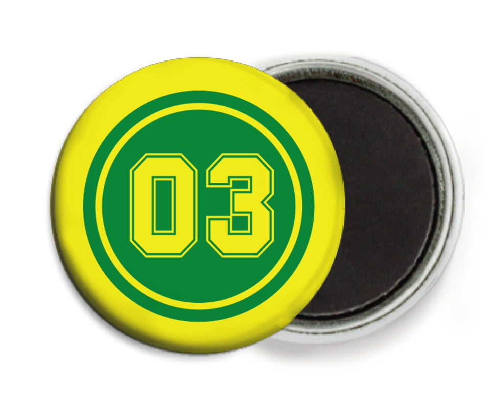 custom button magnets - green & yellow - soccer (set of 6)
