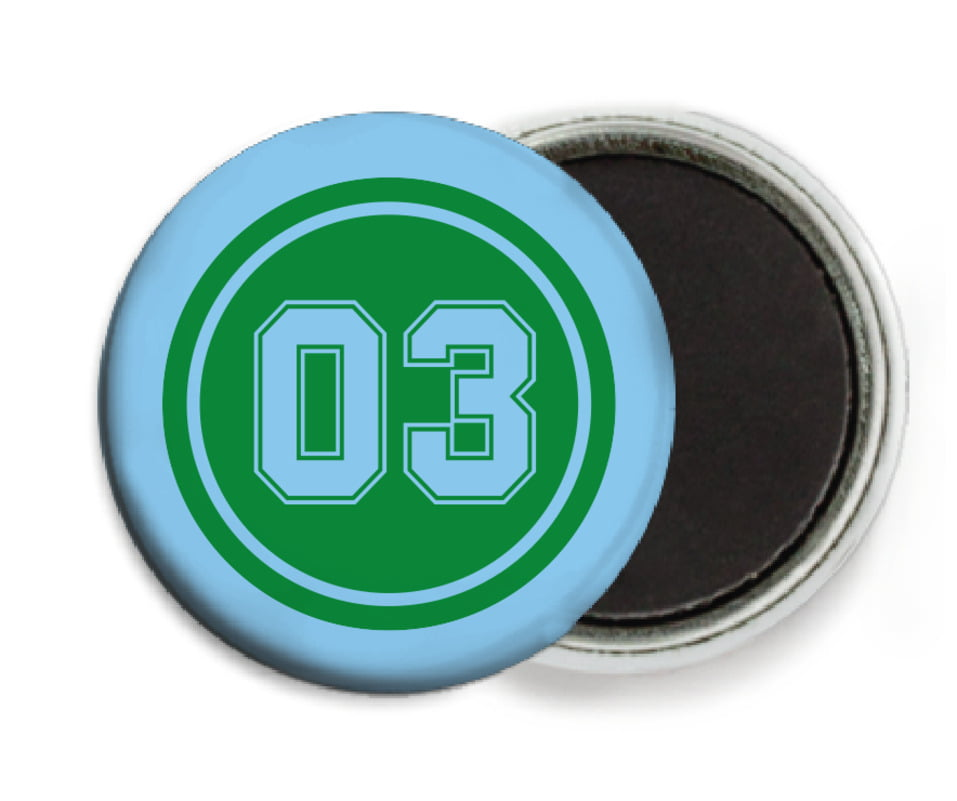 custom button magnets - green & light blue - soccer (set of 6)