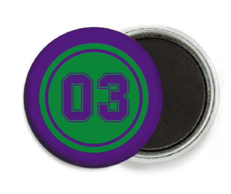 custom button magnets - green & purple - soccer (set of 6)