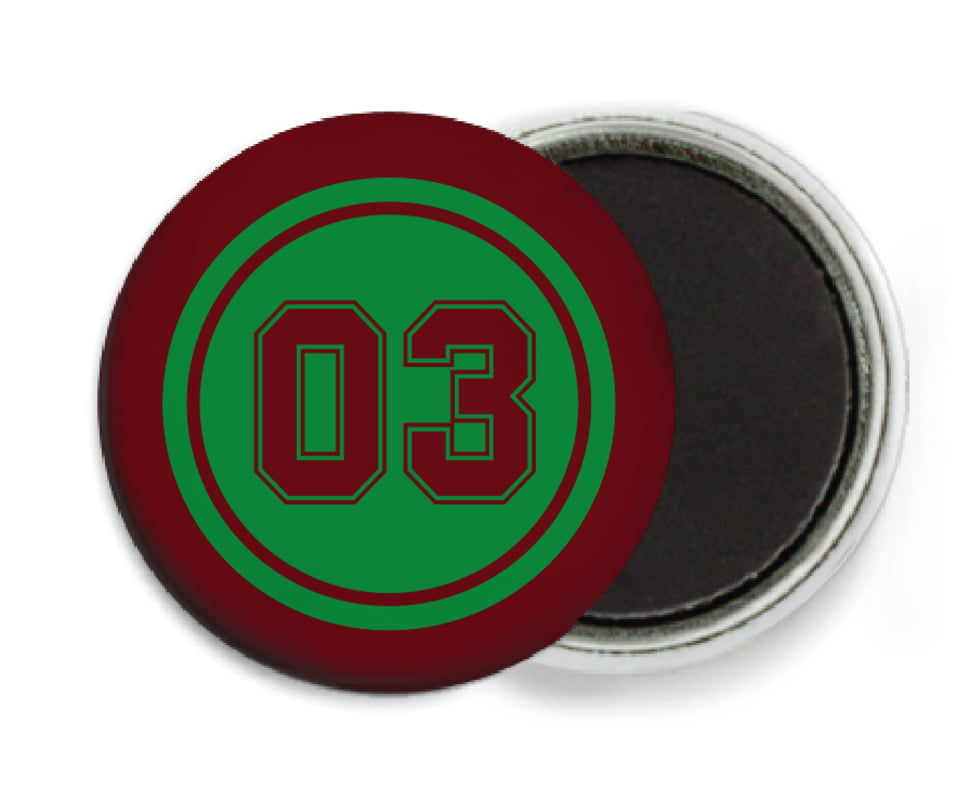 custom button magnets - green & maroon - soccer (set of 6)