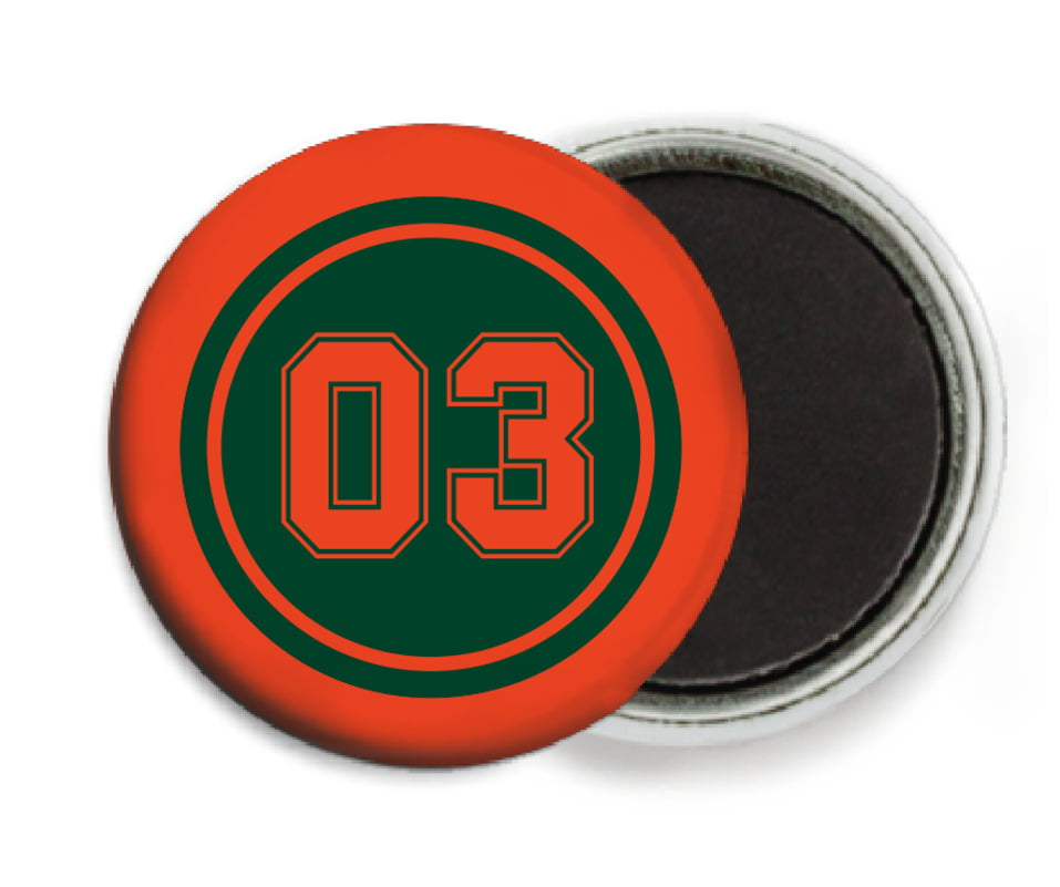 custom button magnets - forest & orange - soccer (set of 6)
