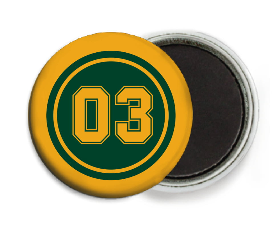 custom button magnets - forest & gold - soccer (set of 6)