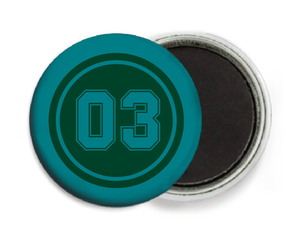 custom button magnets - forest & teal - soccer (set of 6)