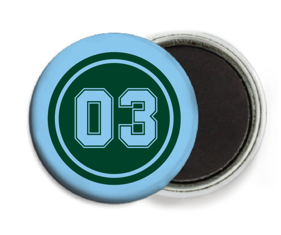 custom button magnets - forest & light blue - soccer (set of 6)