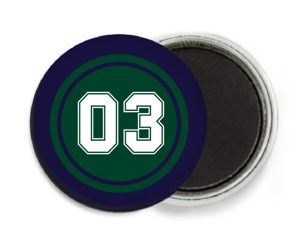 custom button magnets - forest & navy - soccer (set of 6)
