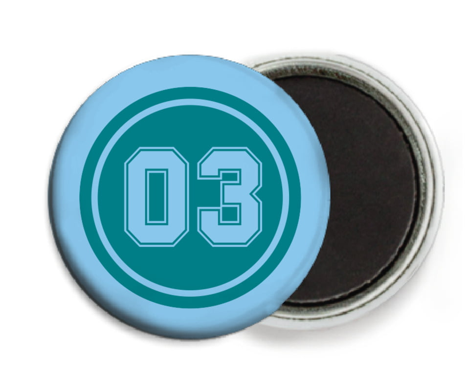 custom button magnets - teal & light blue - soccer (set of 6)