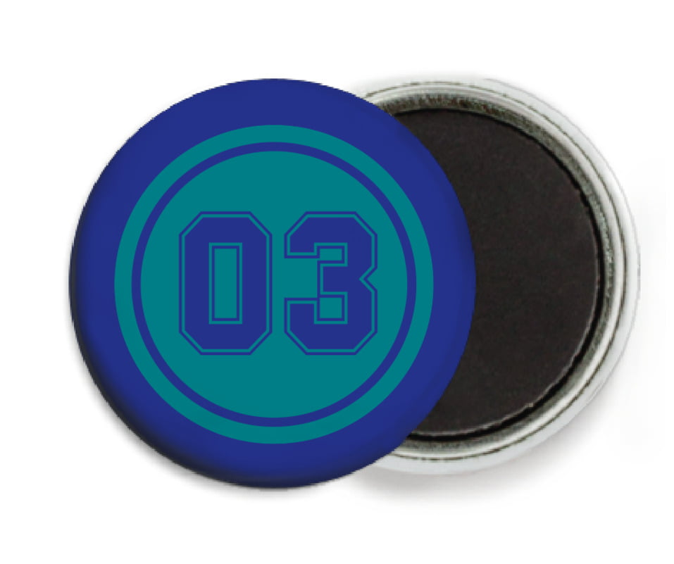 custom button magnets - teal & royal - soccer (set of 6)