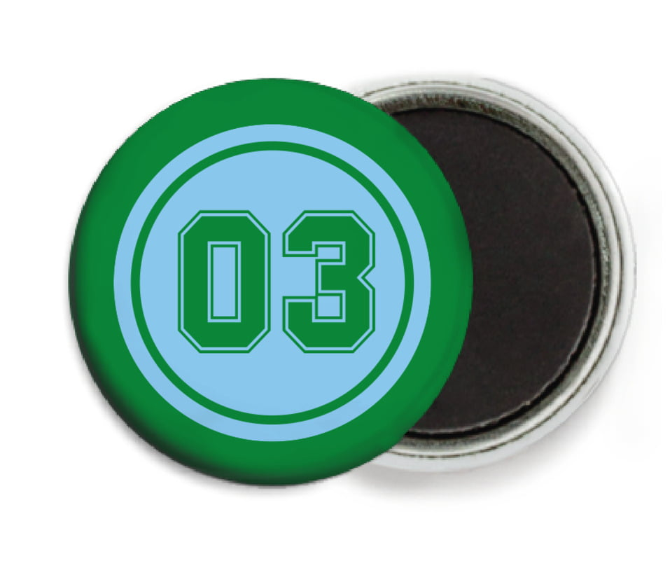 custom button magnets - light blue & green - soccer (set of 6)