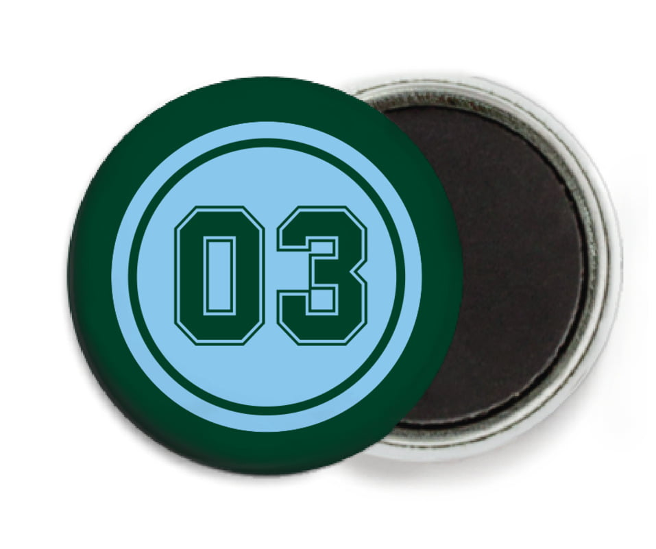 custom button magnets - light blue & forest - soccer (set of 6)