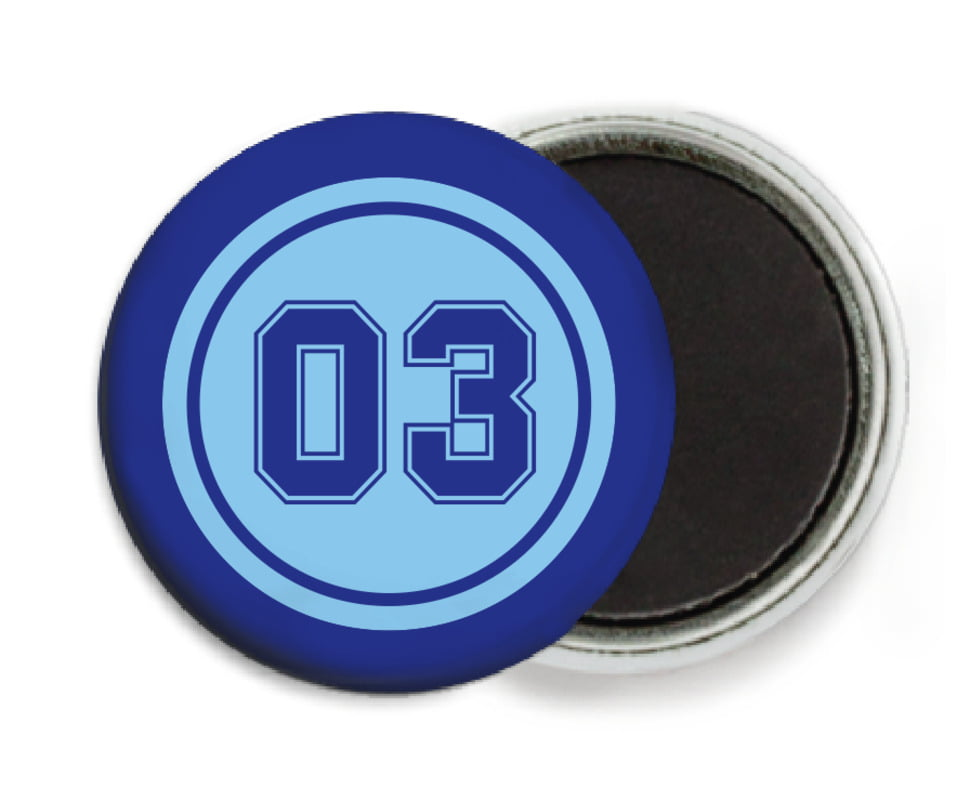 custom button magnets - light blue & royal - soccer (set of 6)