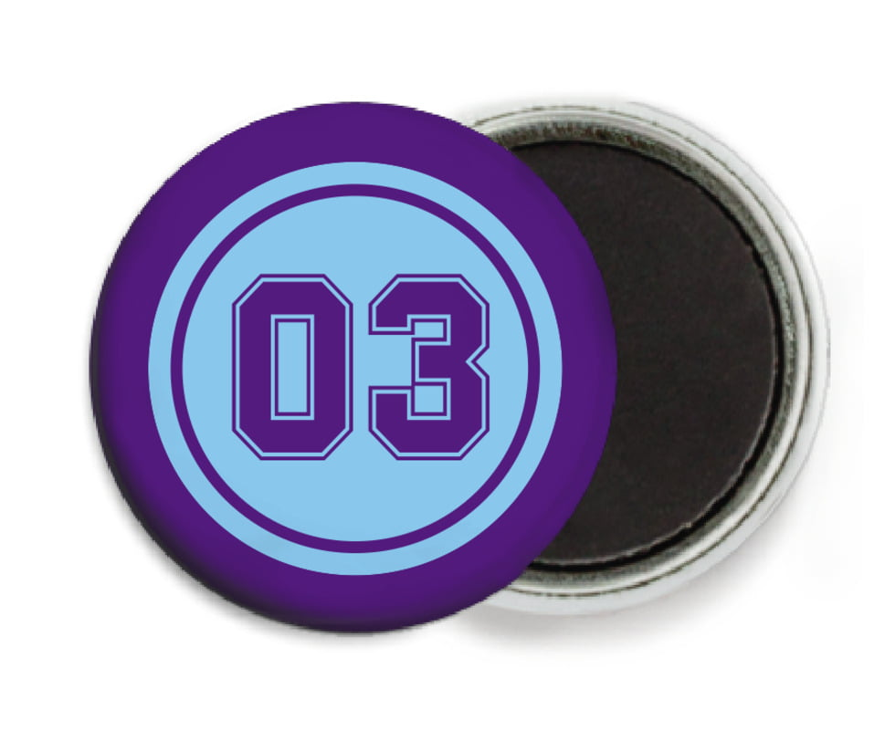 custom button magnets - light blue & purple - soccer (set of 6)