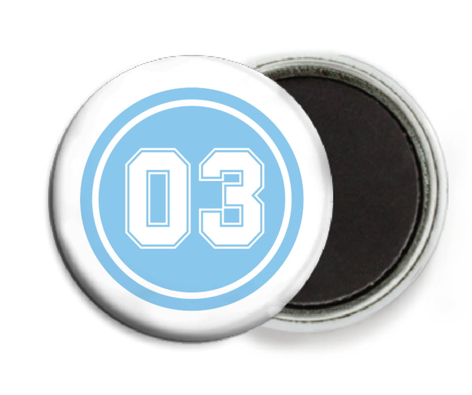 custom button magnets - light blue & white - soccer (set of 6)