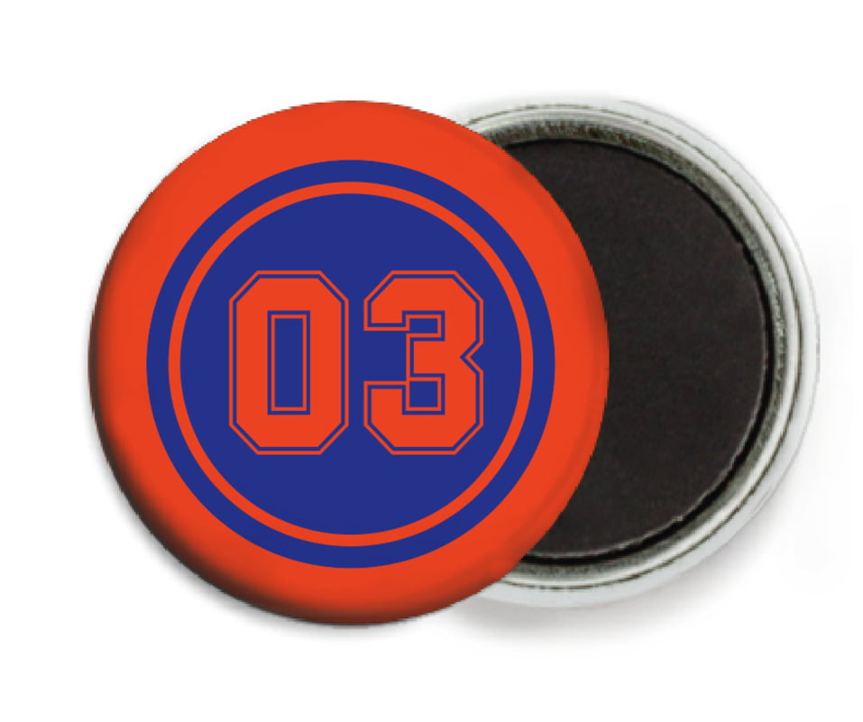 custom button magnets - royal & orange - soccer (set of 6)