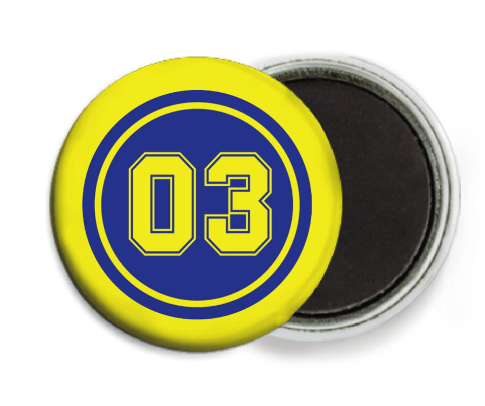 custom button magnets - royal & yellow - soccer (set of 6)