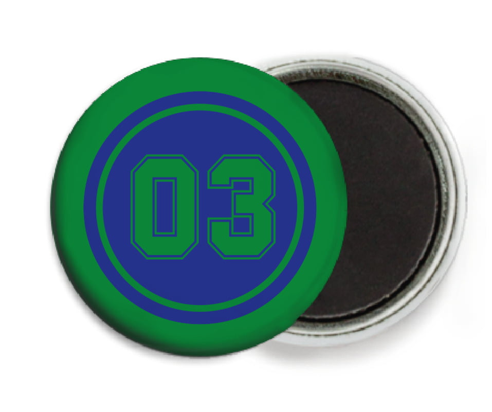 custom button magnets - royal & green - soccer (set of 6)