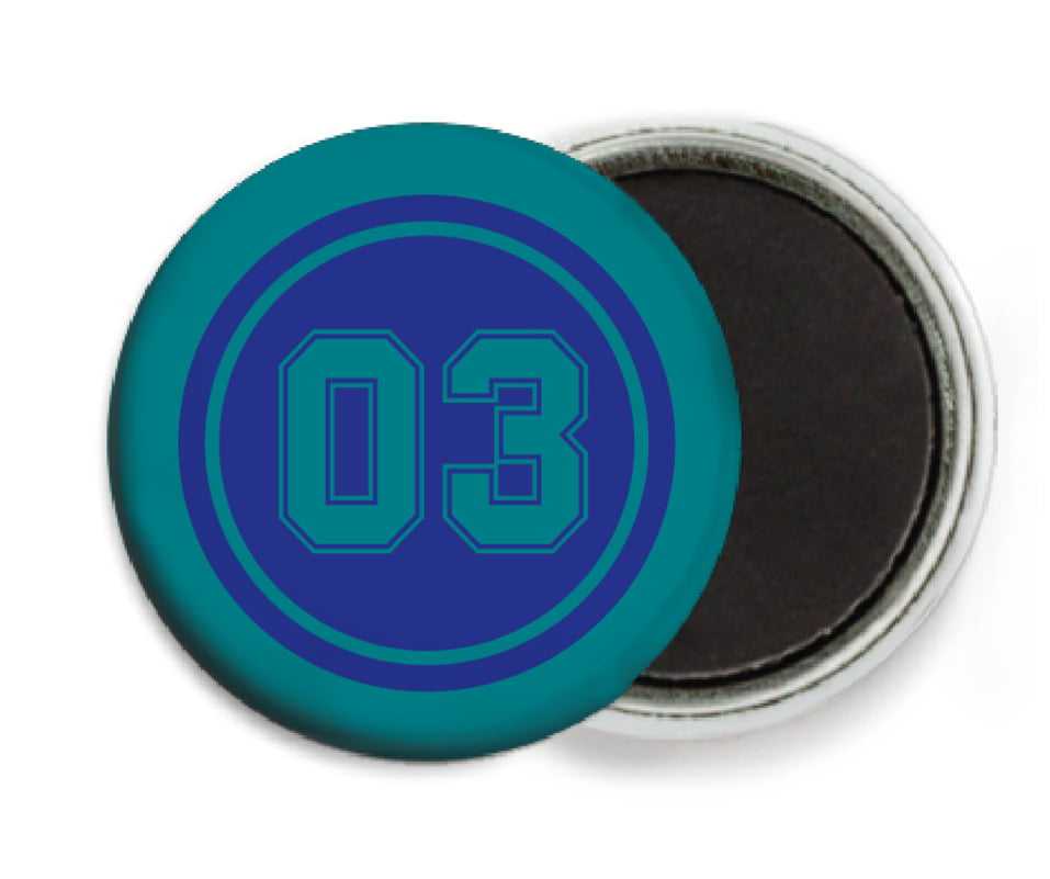 custom button magnets - royal & teal - soccer (set of 6)