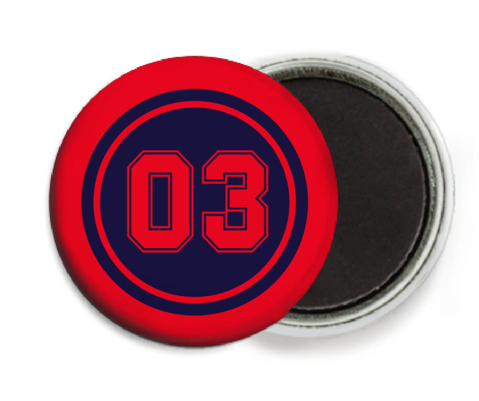custom button magnets - navy & red - soccer (set of 6)