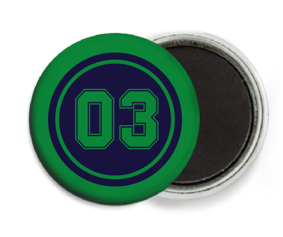 custom button magnets - navy & green - soccer (set of 6)