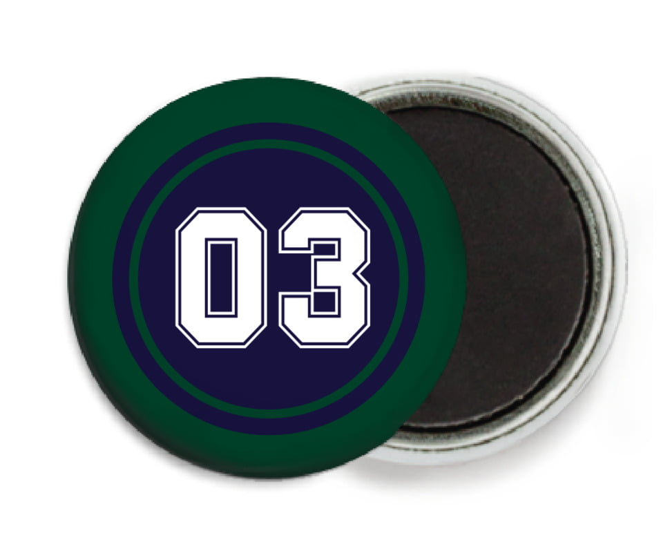 custom button magnets - navy & forest - soccer (set of 6)