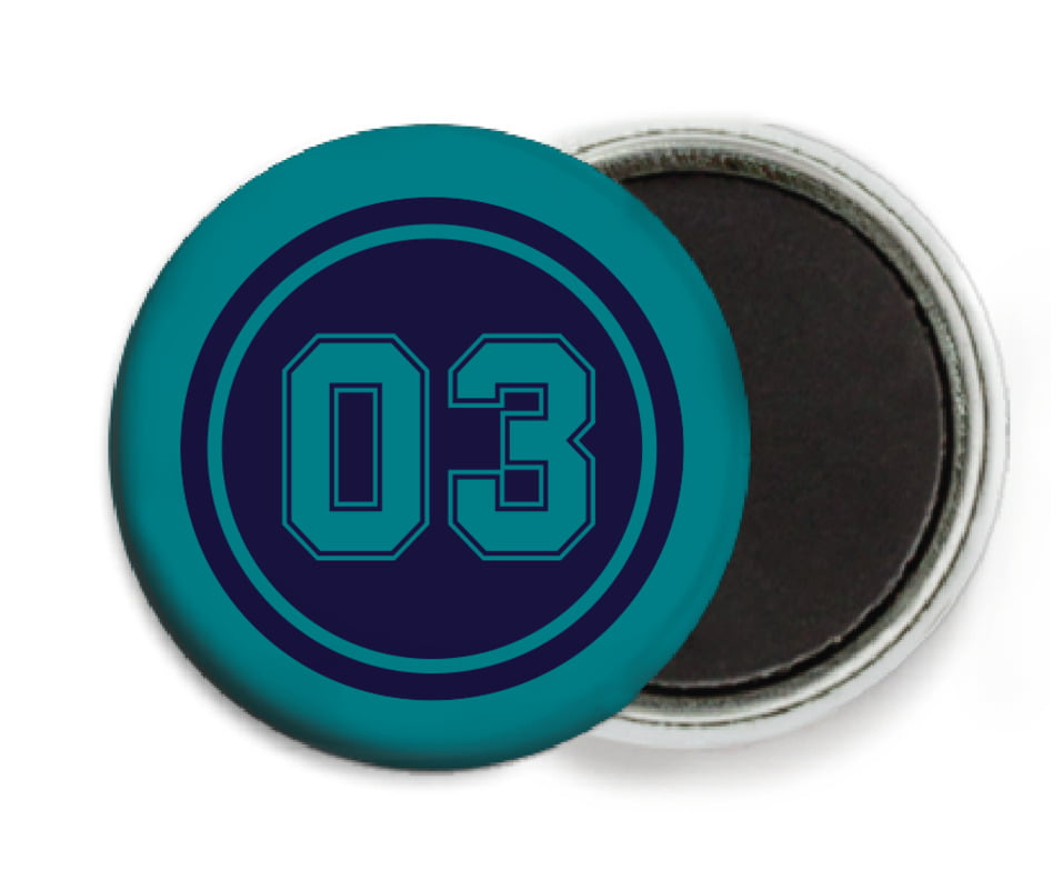 custom button magnets - navy & teal - soccer (set of 6)