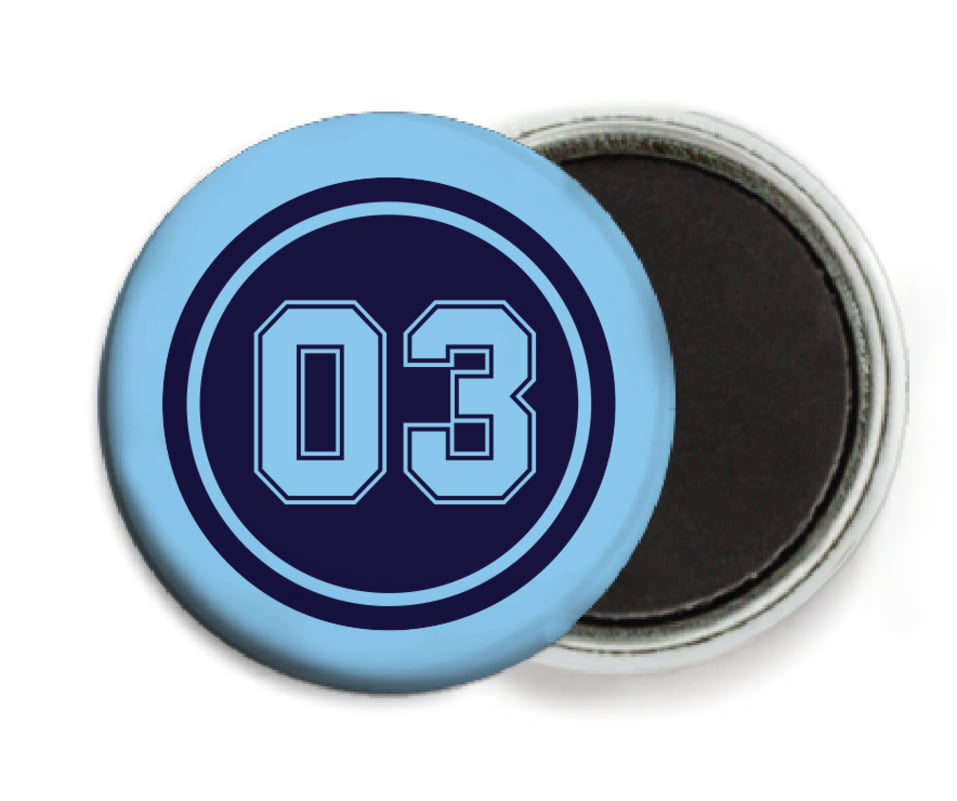 custom button magnets - navy & light blue - soccer (set of 6)