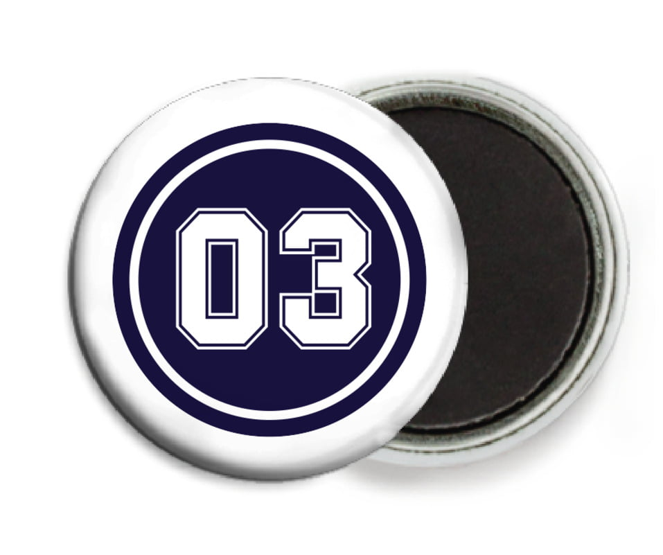 custom button magnets - navy & white - soccer (set of 6)