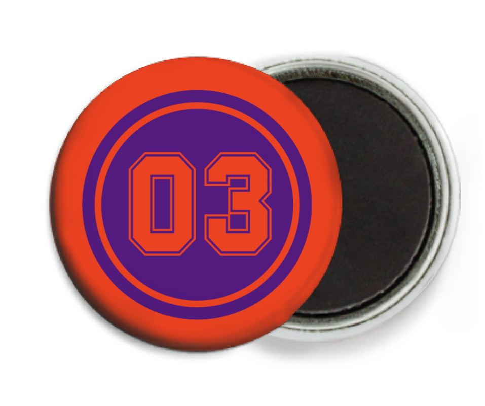 custom button magnets - purple & orange - soccer (set of 6)