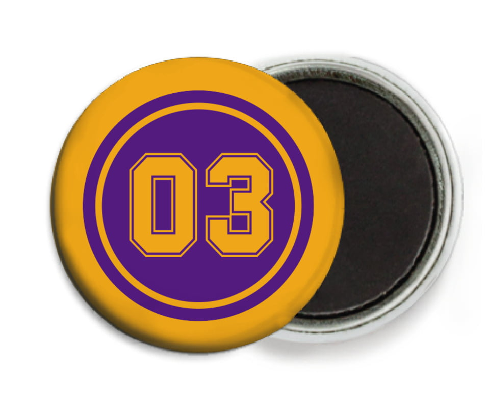 custom button magnets - purple & gold - soccer (set of 6)