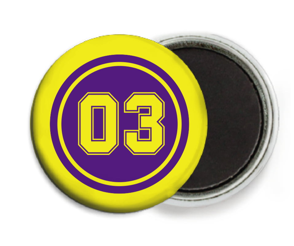 custom button magnets - purple & yellow - soccer (set of 6)
