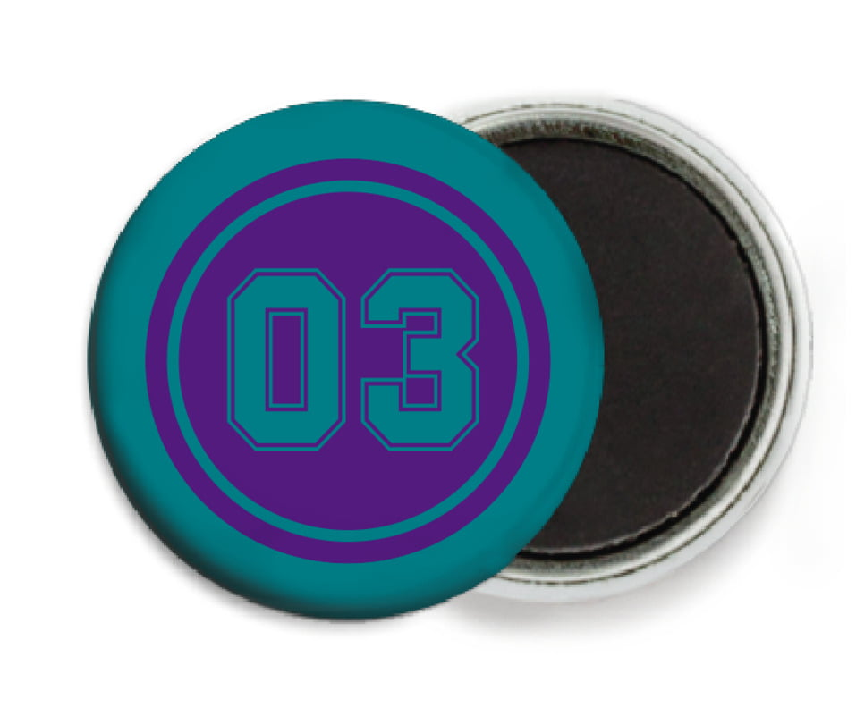 custom button magnets - purple & teal - soccer (set of 6)