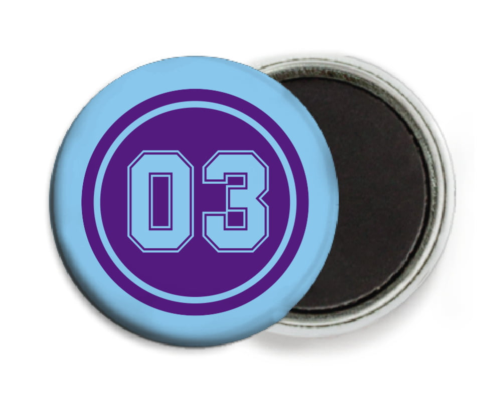 custom button magnets - purple & light blue - soccer (set of 6)